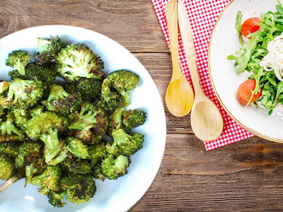 Garlicky Roasted Broccoli with Roasted Shrimp