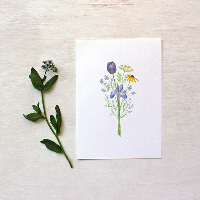 Flowers for Change print featuring a watercolor of a bouquet