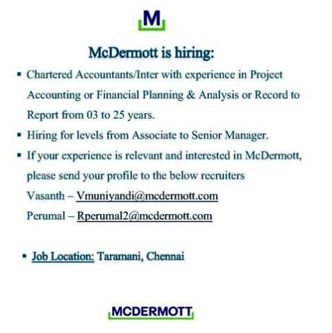 Job Opening for Chartered accountants apply here.