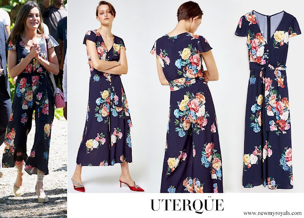 Queen Letizia wore a chic floral printed jumpsuit by Uterque