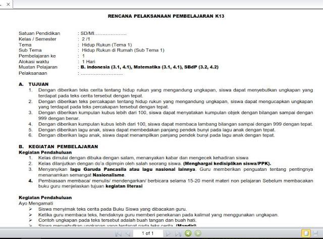 Contoh RPP SD 1 Lembar Sesuai Arahan Mendikbud Nadiem