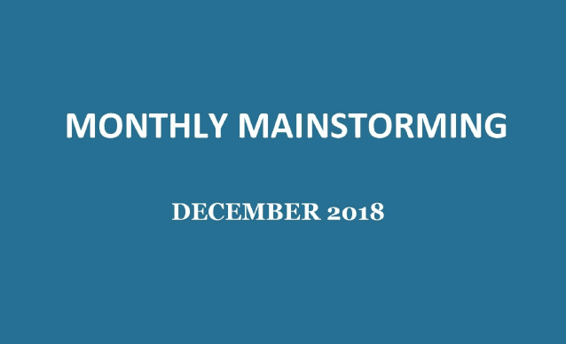 UPSC Monthly Mainstorming - December 2018 for UPSC Mains 2018