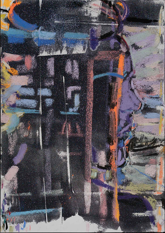 Elizabeth Peyton Reflection, 2020  Black glitter and colored pastel on paper  50.8 × 35.6 cm