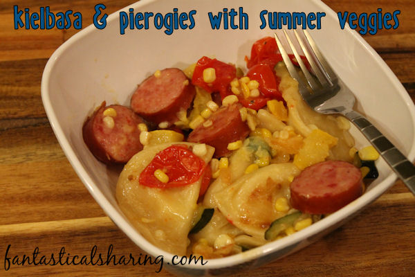 Kielbasa and Pierogies with Summer Veggies // The perfect way to use up some of your garden harvest with hearty pierogies and delicious kielbasa #recipe #kielbasa #pierogies