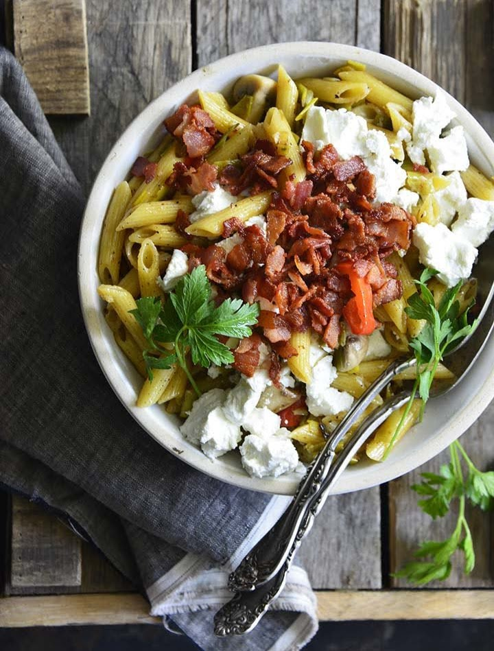 Warm Pasta Salad Recipe with Caramelized Leek, Bacon, and Goat Cheese | Photo Courtesy of An Edible Mosaic