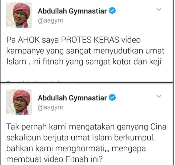 "Aa Gym Protes Video Ahok Ada ""Ganyang Cina""-nya, Faktanya Memang Ada"