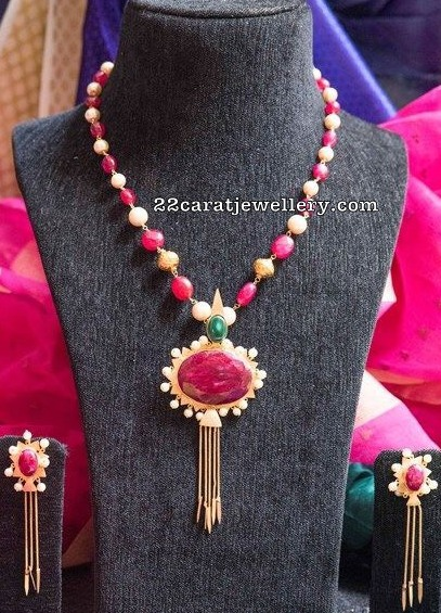Ruby Beads Set with Large Dollar