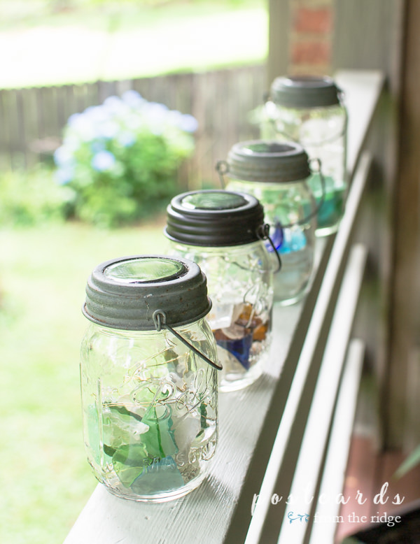 solar-powered mason jar sea glass lanterns
