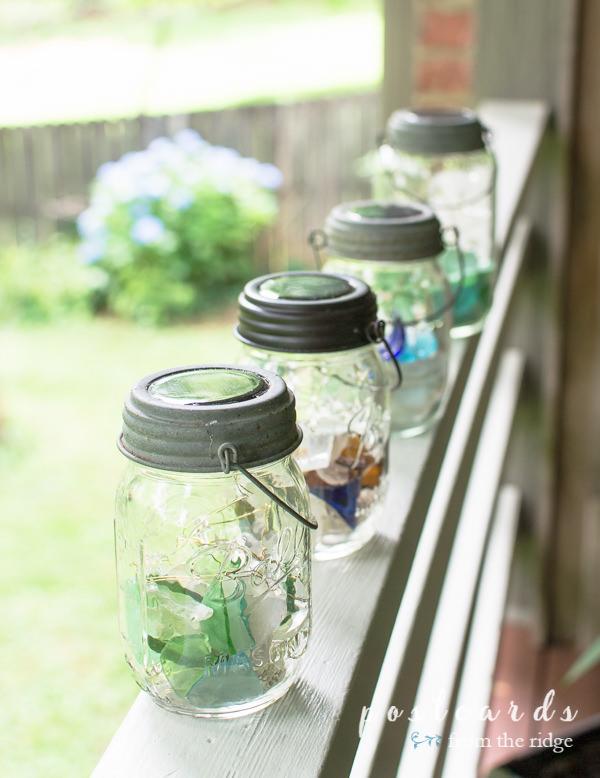 solar-powered mason jar sea glass lanterns