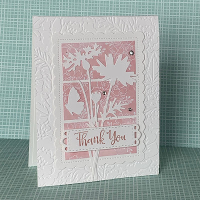 Floral thank You card using Pretty Flowers Embossing Folder background and Stampin' Up! Meadow Dies