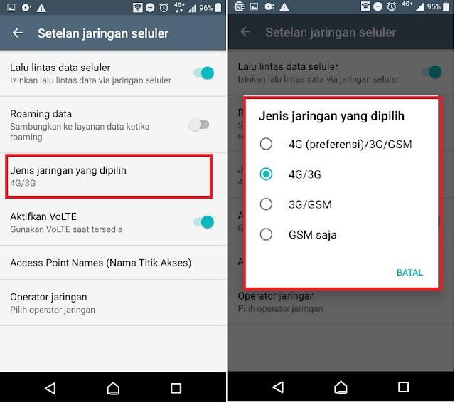 setting mode jaringan Indosat