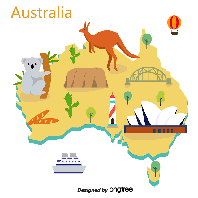 simple hand-drawn map of australian travel infography