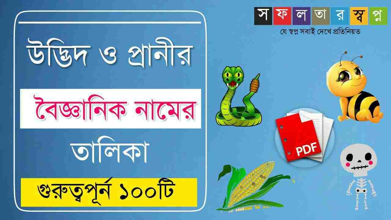 বিভিন্ন উদ্ভিদ ও প্রাণীর বৈজ্ঞানিক নামের তালিকা PDF- Scientific Name List in Bengali