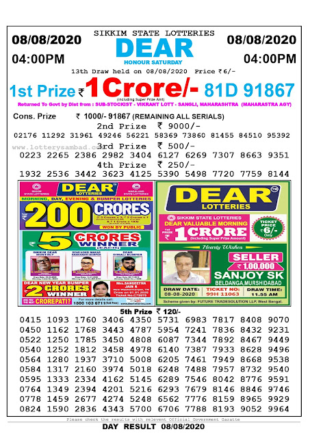 Sikkim State Lottery Sambad 09-08-2020 Today Result 4 PM