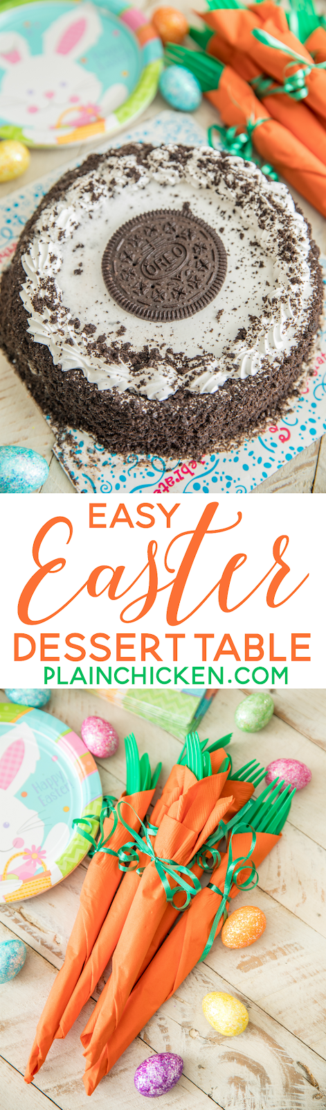 Easy Easter Dessert Table with festive Carrot Napkins and an I Love Ice Cream Carvel® Oreo® Ice Cream Cake. Make Easter dessert a breeze with this yummy ice cream cake! Cakes are available nationwide in the freezer or bakery section of the grocery store. Make sure your Easter table is festive and make these adorable and easy Carrot Napkins bundles.Great way for the kids to help set the table. GIF tutorial included #IceCreamCakeBreak #ad #Easter #table #carrotnapkins