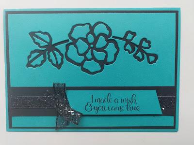 Stampin' Up Bermuda Bay Rose Stencil Ribbon Card