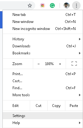 Desktop Google Chrome menu