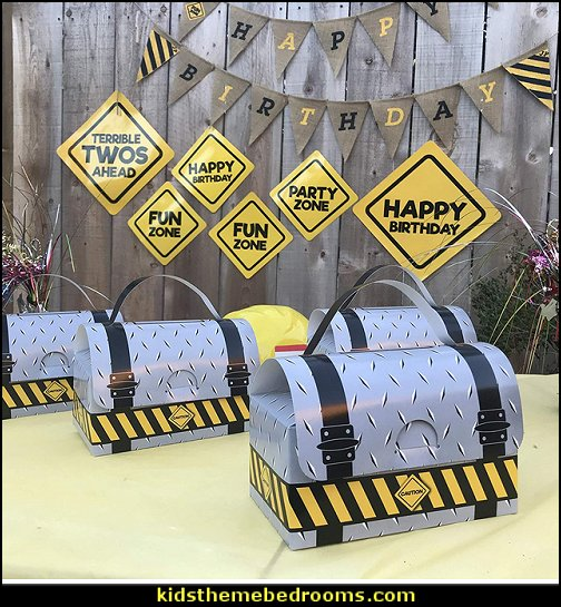 ToolBox Party Favor Boxes Construction Party Supplies  Construction party ideas - construction party decorations - digger construction party props - Dump Truck Party Decorations - crane construction theme party - work truck decorations - Digger Zone Boys Birthday Party -
