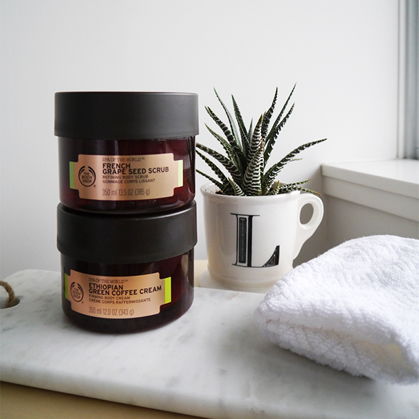 The Body Shop Spa of the World French Grape Seed Scrub Refining Body Scrub and The Body Shop Spa of the World Ethiopian Green Coffee Cream Firming Body Cream