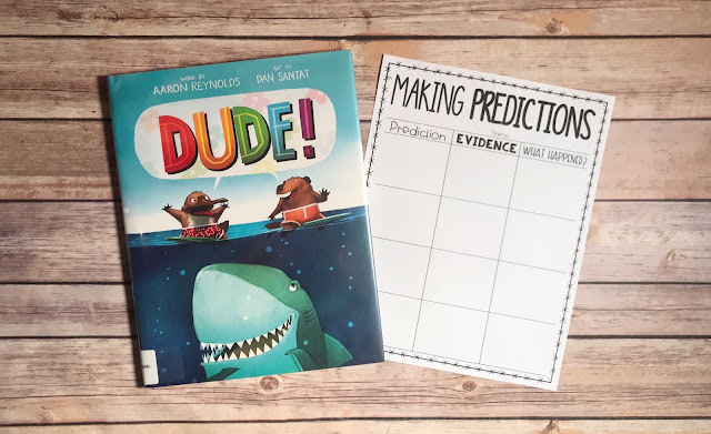 """Picture Book with text """"Dude"""" and Making Predictions Graphic Organizer"""
