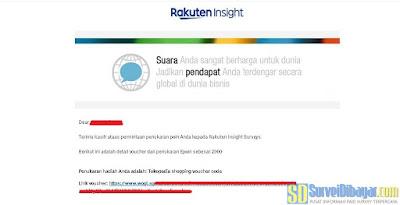 Email notifikasi dari Rakuten Insight yang berisikan kode voucher Tokopedia gratis | SurveiDibayar.com