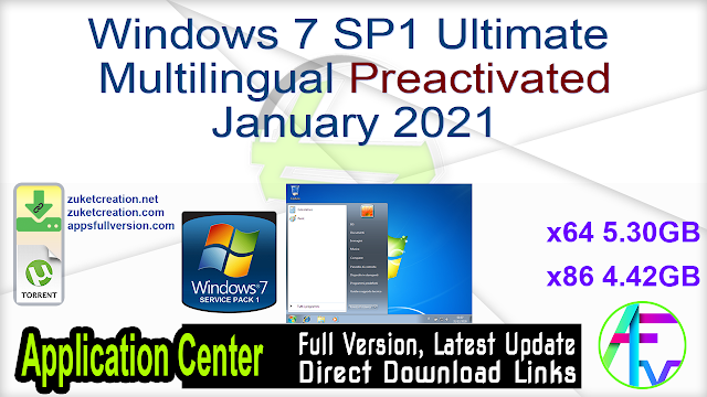 Windows 7 SP1 Ultimate Multilingual Preactivated January 2021