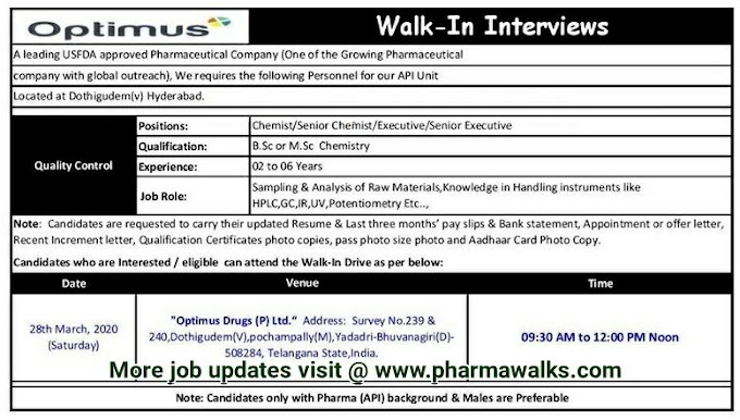 Optimus Drugs walk-in interview for Quality Control department on 28th Mar' 2020