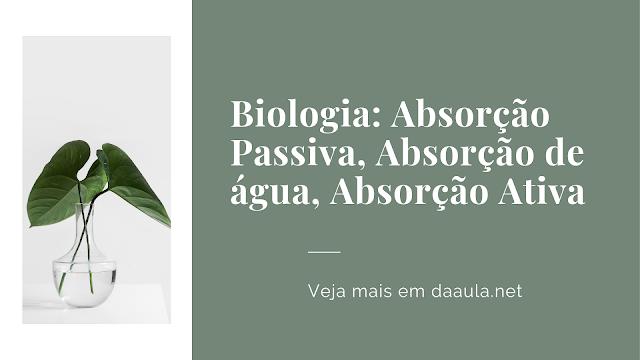 Biologia: Absorção Passiva, Absorção de água, Absorção Ativa
