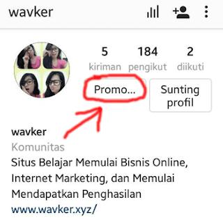 tombol promosi aktif di instagram