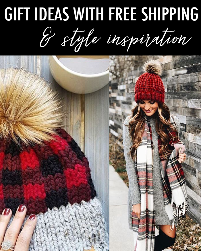 buffalo plaid knit beanie plaid scarf sweater dress