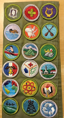 My merit badges: Stamp Collecting, First Aid, Music, Swimming, Cooking, Canoeing, Rowing, Camping, Reading, Citizenship in the Nation, Emergency Preparedness, Citizenship in the Community, Citizenship in the World, Atomic Energy, Scholarship, Fish and Wildlife Management, Pioneering, and Environmental Science.