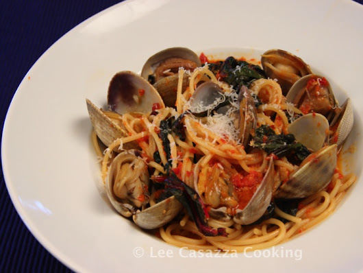 SPAGHETTI WITH CLAMS & BRAISED SWISS CHARD