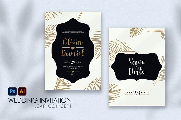 Leaf Vintage Wedding Invitation