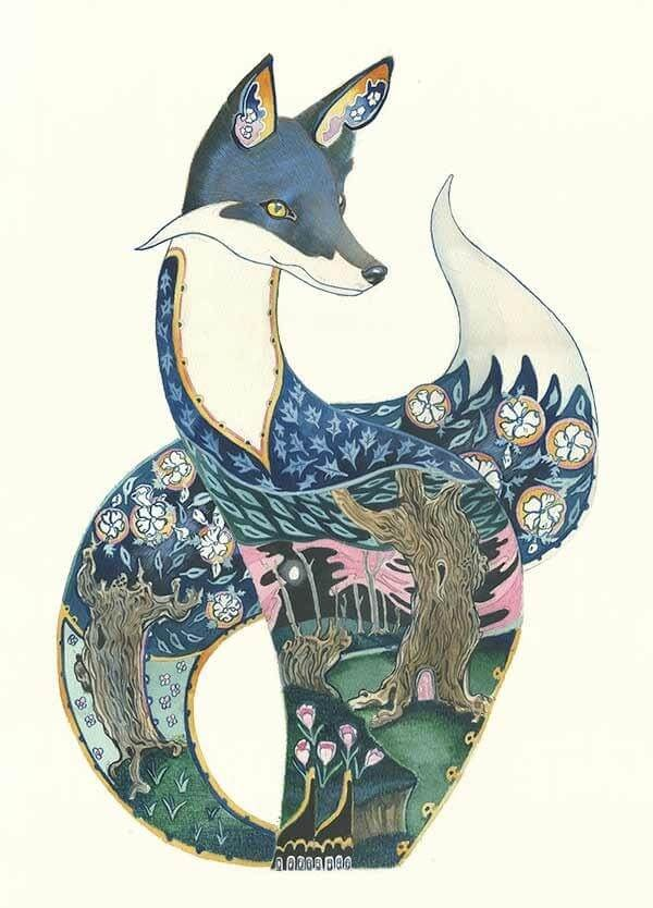 12-Fox-at-Night-Daniel-Mackie-Flora-and-Fauna-Watercolour-illustrations-www-designstack-co