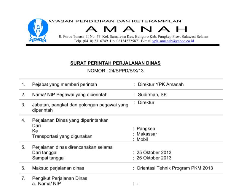 Contoh Surat Perjalanan Dinas