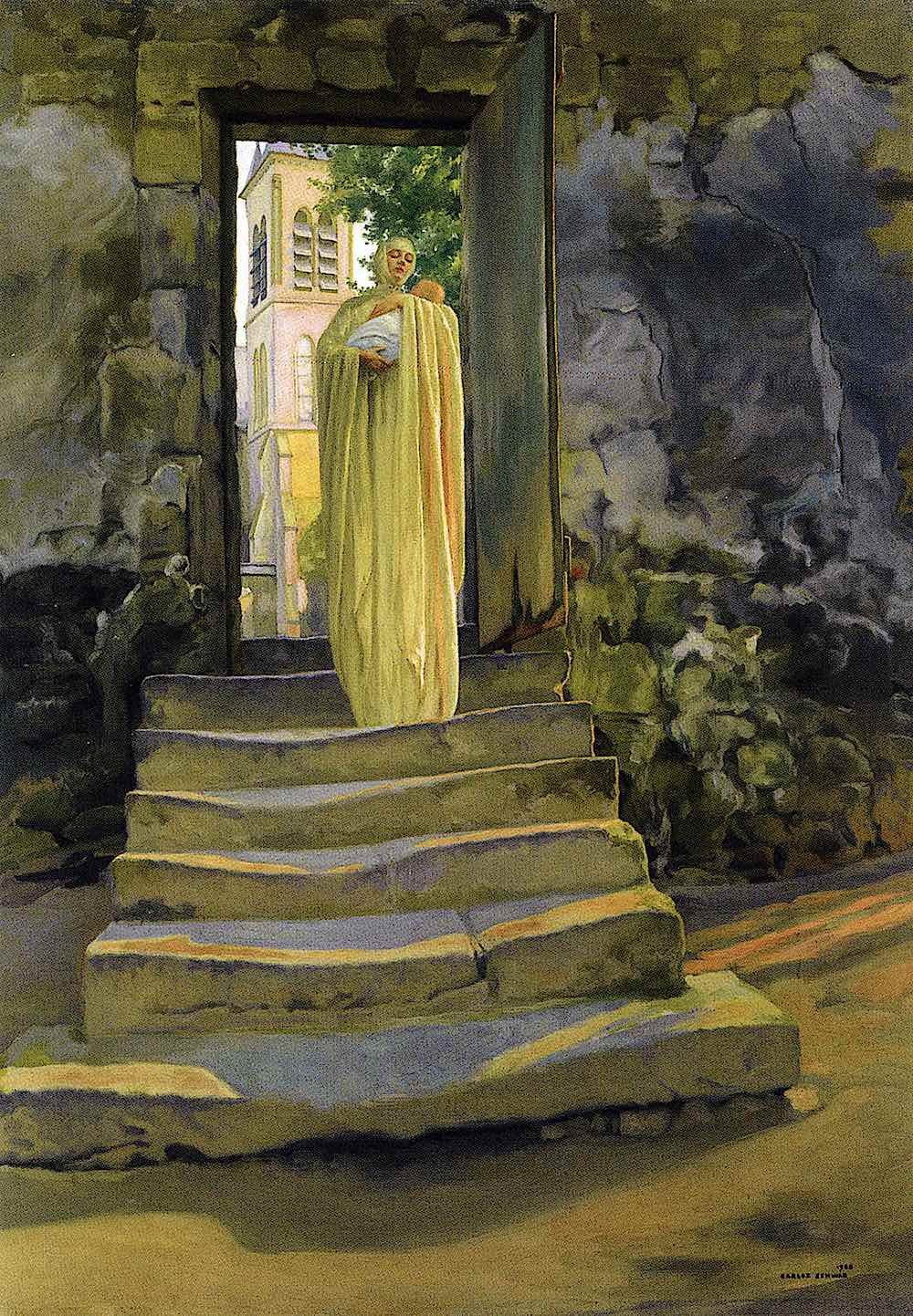 a Carlos Schwabe painting of a woman in yellow resuing a baby