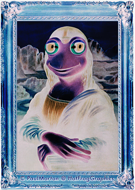 Negative image of frog as Mona Lisa for illusion