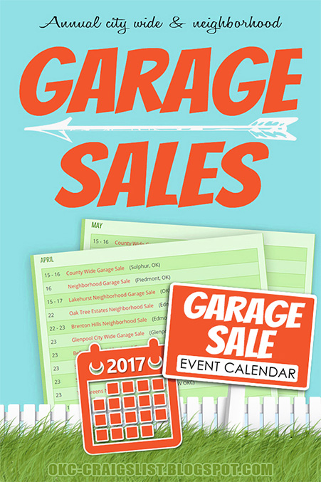 Neighborhood Garage Sales Calendar - Oklahoma