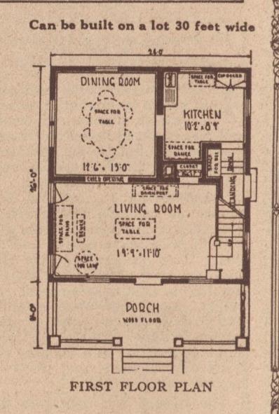first floor layout Sears Wayne 1928 Sears building supplies catalog