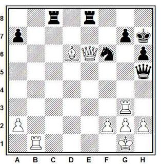 Posición de la partida de ajedrez Tchigorin - Bird (Nueva York, 1898)