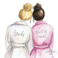 Cartoon of bride and maid of honor in gowns