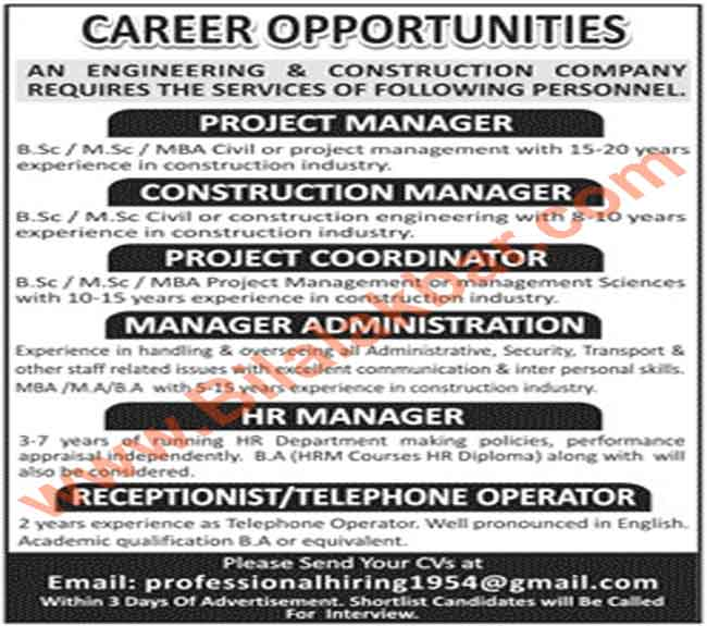 Career Opportunities in Construction Company CV Selection
