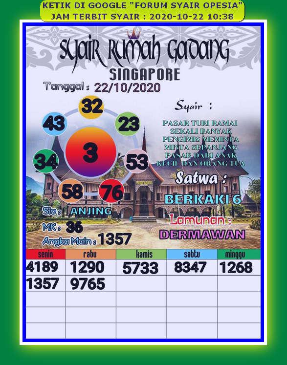Kode syair Singapore Kamis 22 Oktober 2020 94