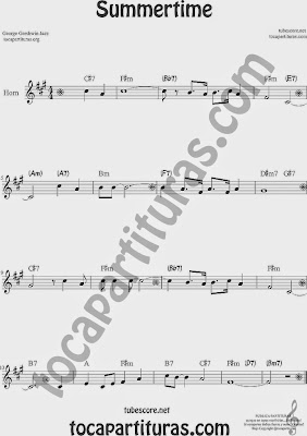 Summertime de Partitura de Trompa y Corno Francés en Mi bemol Sheet Music for French Horn Music Scores