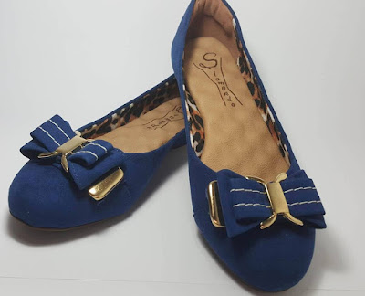 sapatilha azul linda bonita elegante moderna moda fashion retro rasteira caçado feminino sapato mulher laço camurça dourado