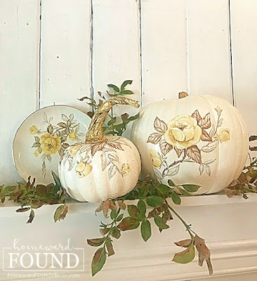 faux finish, farmhouse style, thrifted, diy decorating, Thanksgiving, pumpkins, fall, DIY, painting, boho style,neutrals, painting, colorful home,  garden art, fall, fall decorating, fall decor, pumpkins, pumpkin decor, pumpkin decorating, painted pumpkins, home decor, decorating, autumn decor, thanksgiving decor, thanksgiving, october decor, november decor, chinoiserie painted pumpkins, toile painted pumpkins, blue and white painted pumpkins, brown toile, neutral home decor, fall leaves, fall florals, fall trends 2021.