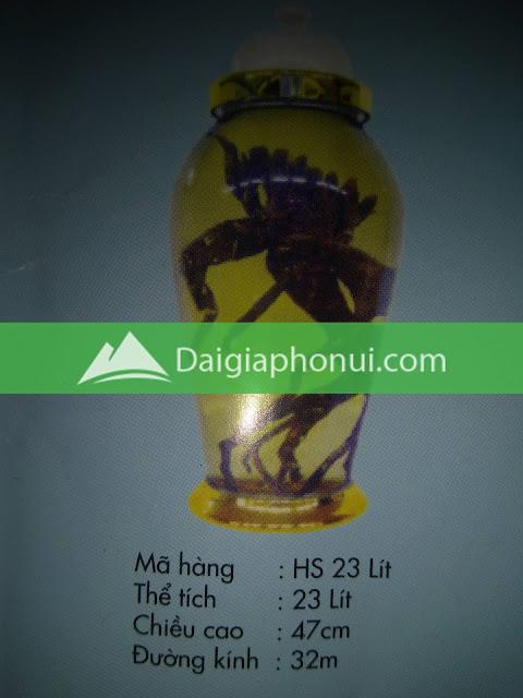 thông số bình ngâm rượu Phú Hoà mã số HS 23 LÍT