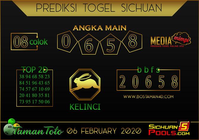 Prediksi Togel SICHUAN TAMAN TOTO 06 FEBRUARY 2020