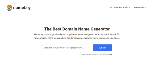 Nameboy is the most popular domain name generator. Use our AI-powered domain name generator & search to find the best business domain name ideas instantly!