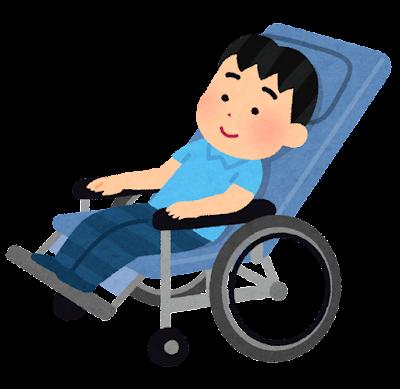 リクライニング車椅子のイラスト(子供)